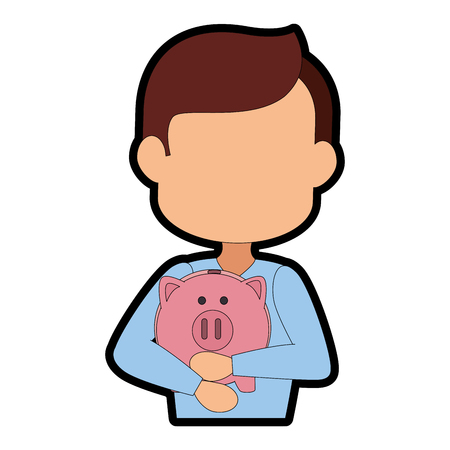 hand holding a piggy bank icon over white background vector illustration