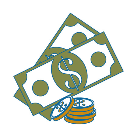 Billets and coins money icon vector illustration graphic design Ilustracja