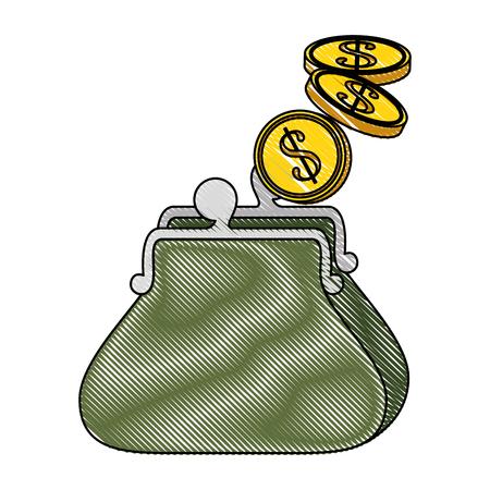 コイン アイコン ベクトル イラスト グラフィック デザインの財布