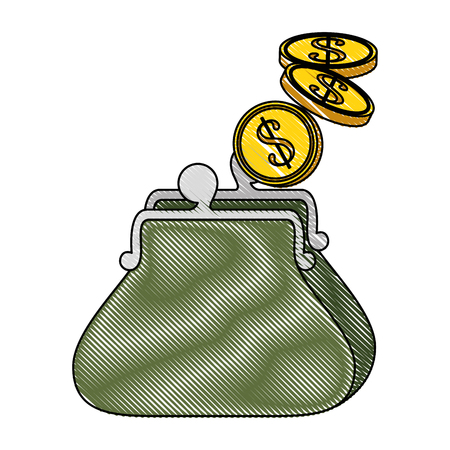 Purse with coins icon vector illustration graphic design