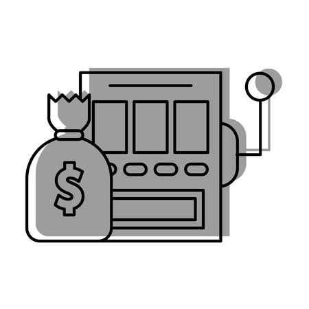 slot machine with bag money vector illustration design