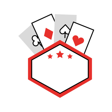label with poker cards vector illustration design