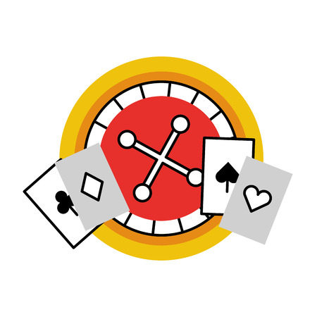 Casino roulette with poker cards vector illustration design Illustration