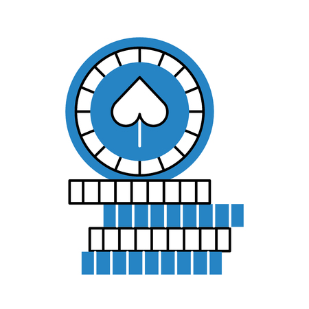 shaped: casino chips with spade vector illustration design