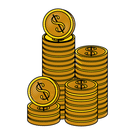동전 아이콘 벡터 일러스트 그래픽 디자인 쌓여 스톡 콘텐츠 - 83827674