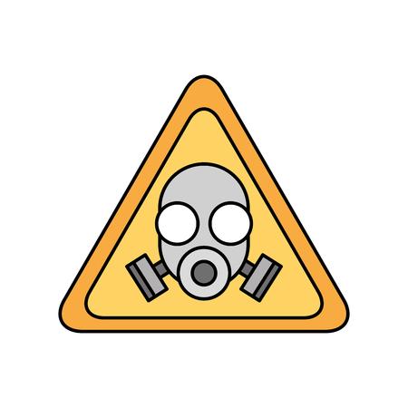 Signal d'avertissement avec masque de laboratoire isolé icône design d'illustration vectorielle Banque d'images - 83828027
