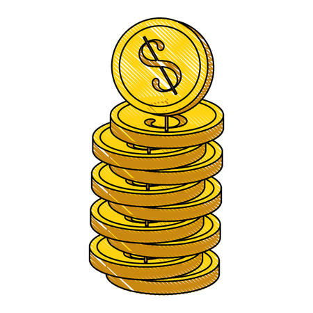 동전 아이콘 벡터 일러스트와 함께 지갑 그래픽 디자인 스톡 콘텐츠 - 83828044