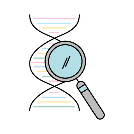dna molecule with magnifying glass vector illustration design