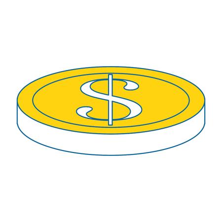 돈 동전 격리 된 아이콘 벡터 일러스트 그래픽 디자인