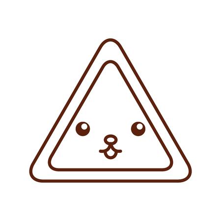 三角形信号カワイイ文字ベクトル イラスト デザイン