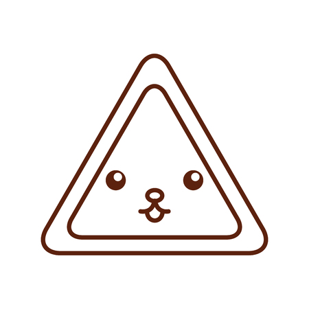 triangle signal kawaii character vector illustration design Illustration