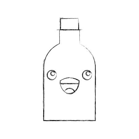 bottle glass character vector illustration design
