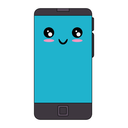 mouth screen: Smartphone mobile technology cartoon icon vector illustration graphic design