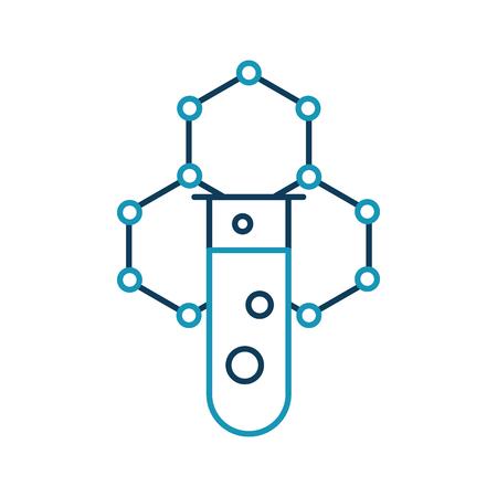laboratory tube test with molecular structure vector illustration design Çizim