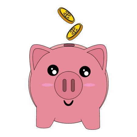 漫画のアイコン ベクトル イラスト グラフィック デザインの貯金箱のお金の節約