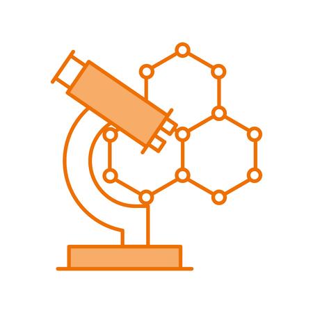 structure molecular with microscope vector illustration design Illustration