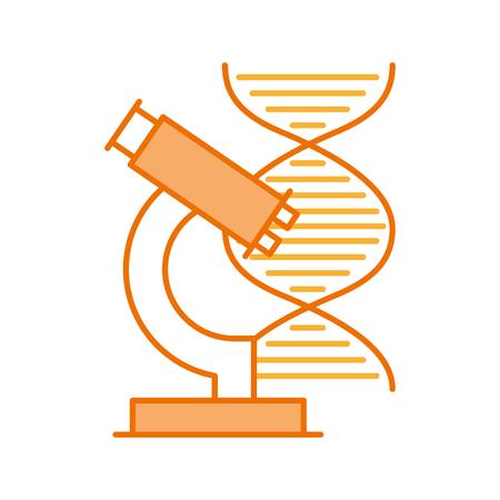 dna molecule with microscope vector illustration design Illustration