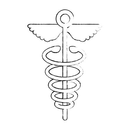 Caduceo médico símbolo icono ilustración vectorial diseño gráfico