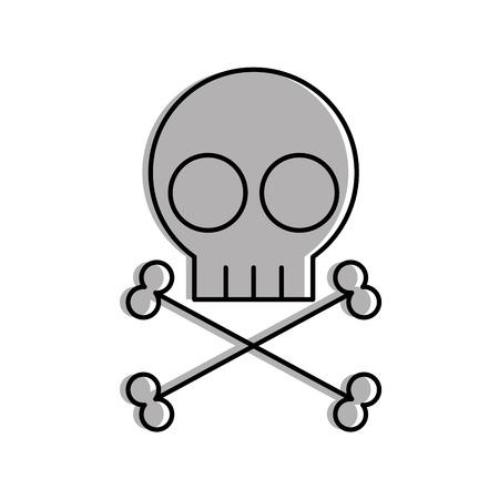 Diseño de ilustración de vector de icono de signo de peligro de cráneo Foto de archivo - 83835893