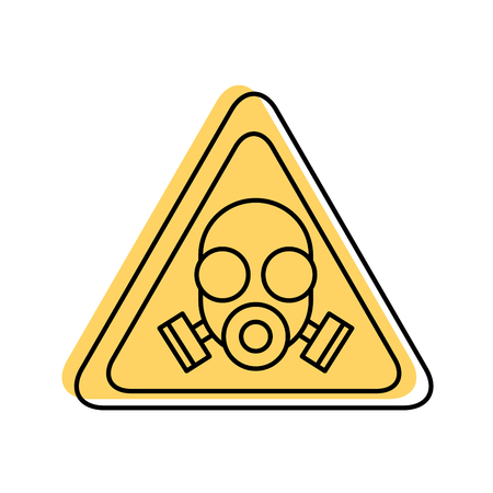 caution signal with laboratory mask isolated icon vector illustration design