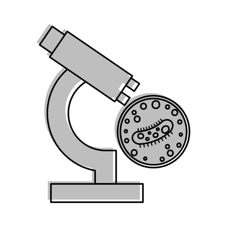 Study of bacteria with microscope vector illustration design