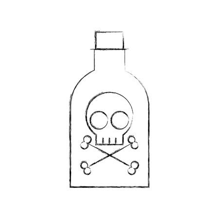 두개골 벡터 일러스트 디자인으로 독약 병