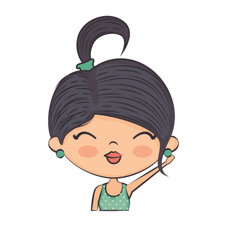 make up model: Cute cartoon girl icon vector illustration graphic design