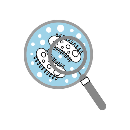 Study of bacteria with magnifying glass vector illustration design