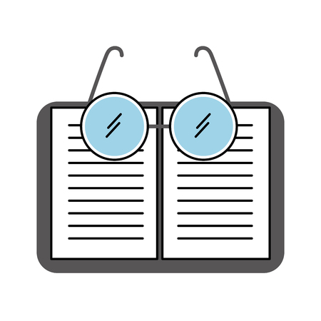 laboratory glasses with text book vector illustration design