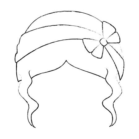 Woman hairstyle fashion icon vector illustration graphic design Çizim