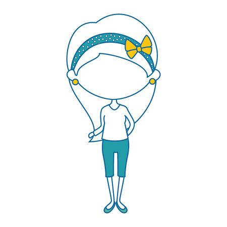 headband: Cute cartoon girl icon vector illustration graphic design