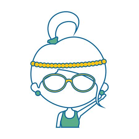 Cute cartoon girl icon vector illustration graphic design