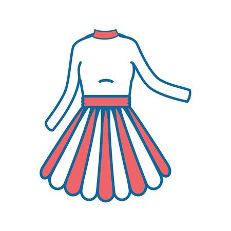 Frauenkleidmodeikonenvektor-Illustrationsgrafikdesign Standard-Bild - 83827737