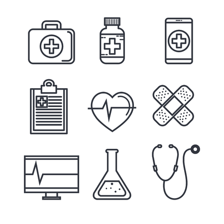 Flat line uncolored medical objects over white background vector illustration