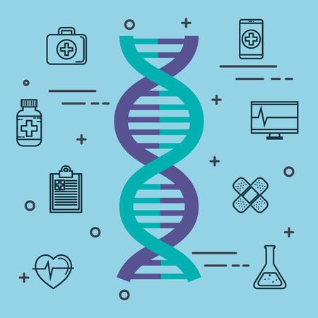 DNA en hand getrokken medische voorwerpen over blauwe vectorillustratie als achtergrond