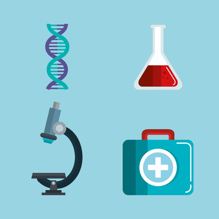 Medical science related objects over blue background vector illustration
