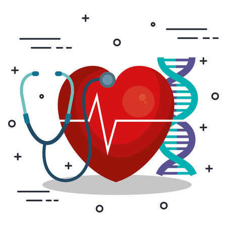 Heart DNA and stethoscope over white background vector illustration
