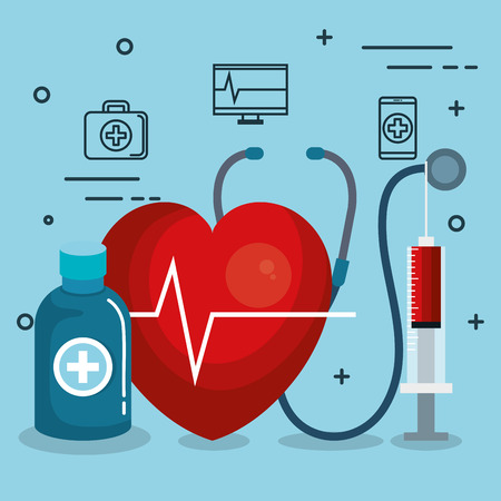 Heart medication and syringe with related objects over blue background vector illustration