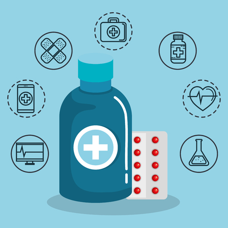 Medication and hand drawn medical objects over blue background vector illustration
