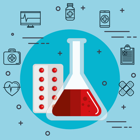 Flask with blood and medicine related objects over blue background vector illustration