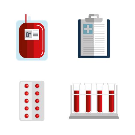 献血関連オブジェクトを白い背景ベクトル図の上