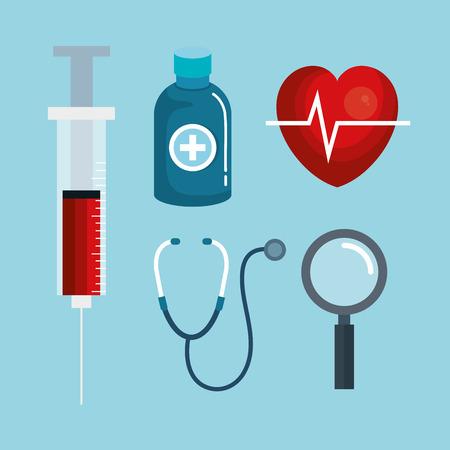 파란색 배경 벡터 일러스트 레이 션을 통해 의료 개체 디자인 스톡 콘텐츠 - 83853590