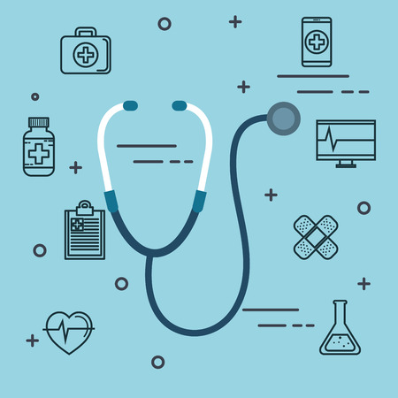 Stethoscope and medicine related objects over blue background vector illustration Imagens - 83853248