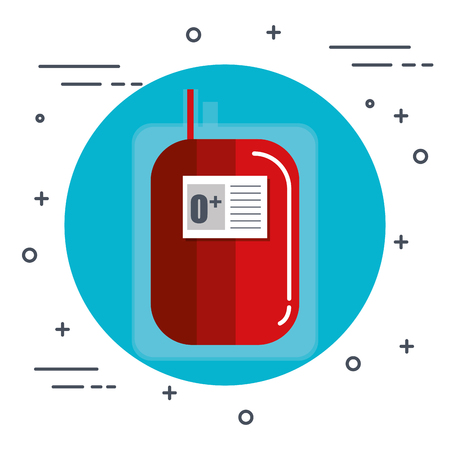 O positive blood unit icon over white background vector illustration
