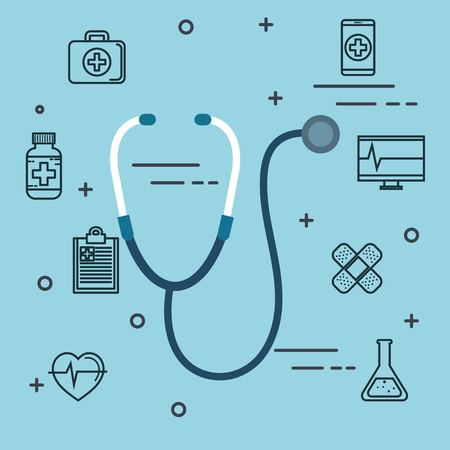 Stethoscope and medicine related objects over blue background vector illustration