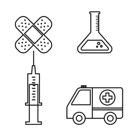 의료 장비 건강 아이콘 설정 벡터 일러스트 레이 션을 제공합니다.