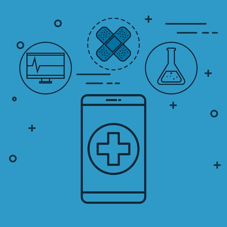 Flat line uncolored smartphone with cross with medicine  related objects design