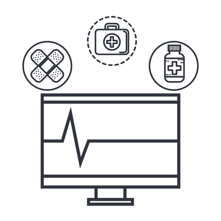 Flat line uncolored monitor with medicine related objects over white background vector illustration