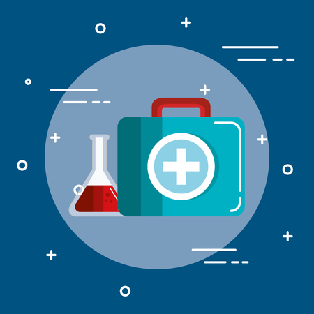Briefcase and blood flask icon over blue background vector illustration Stock Photo