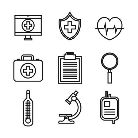 medical equipment supplies healthcare icons set vector illustration Stock fotó - 83853503